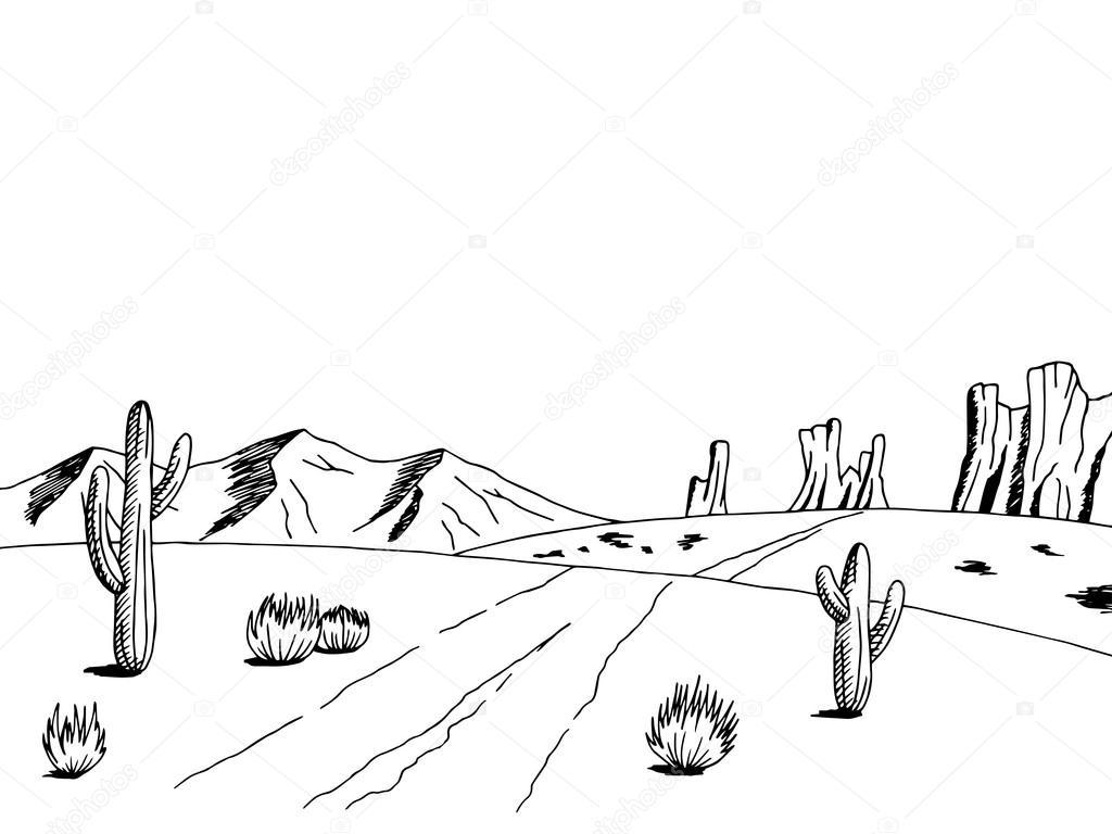 Croquis De L Art Graphique Route Prairie Paysage Blanc