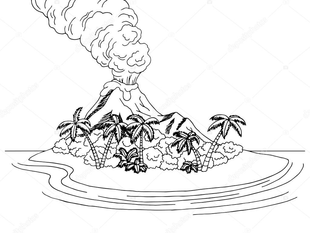 Volcano Island Mountain Sea Graphic Art Black White Sketch