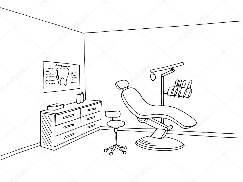 Dentist Office Clinic Graphic Art Black White Sketch