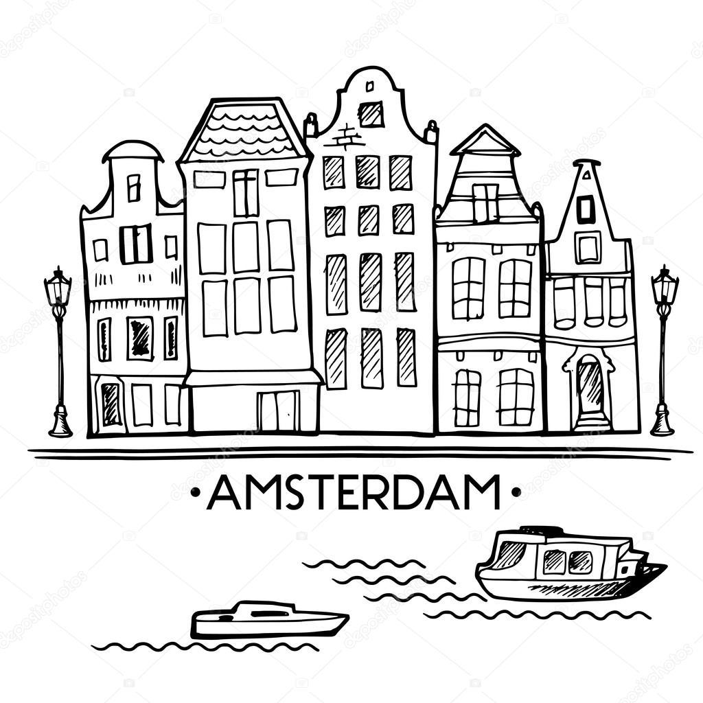 Achtergrond met hand getrokken doodle Amsterdam huizen
