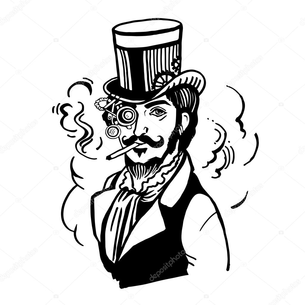 Steampunk Man In Top Hat And Glasses With The Beard
