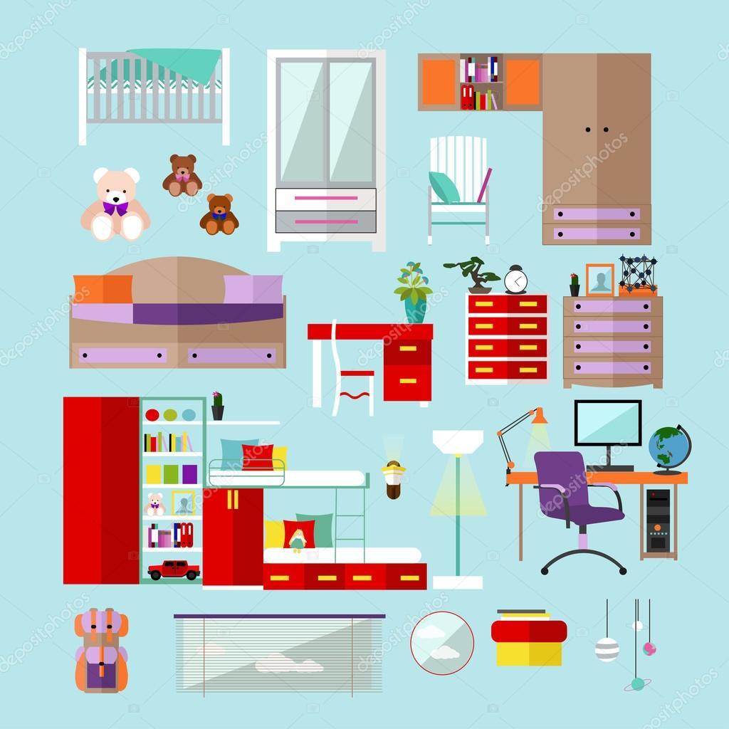Kinderzimmer Interieur Objekte Im Flachen Stil