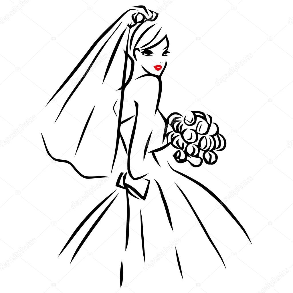 Bride Line Art