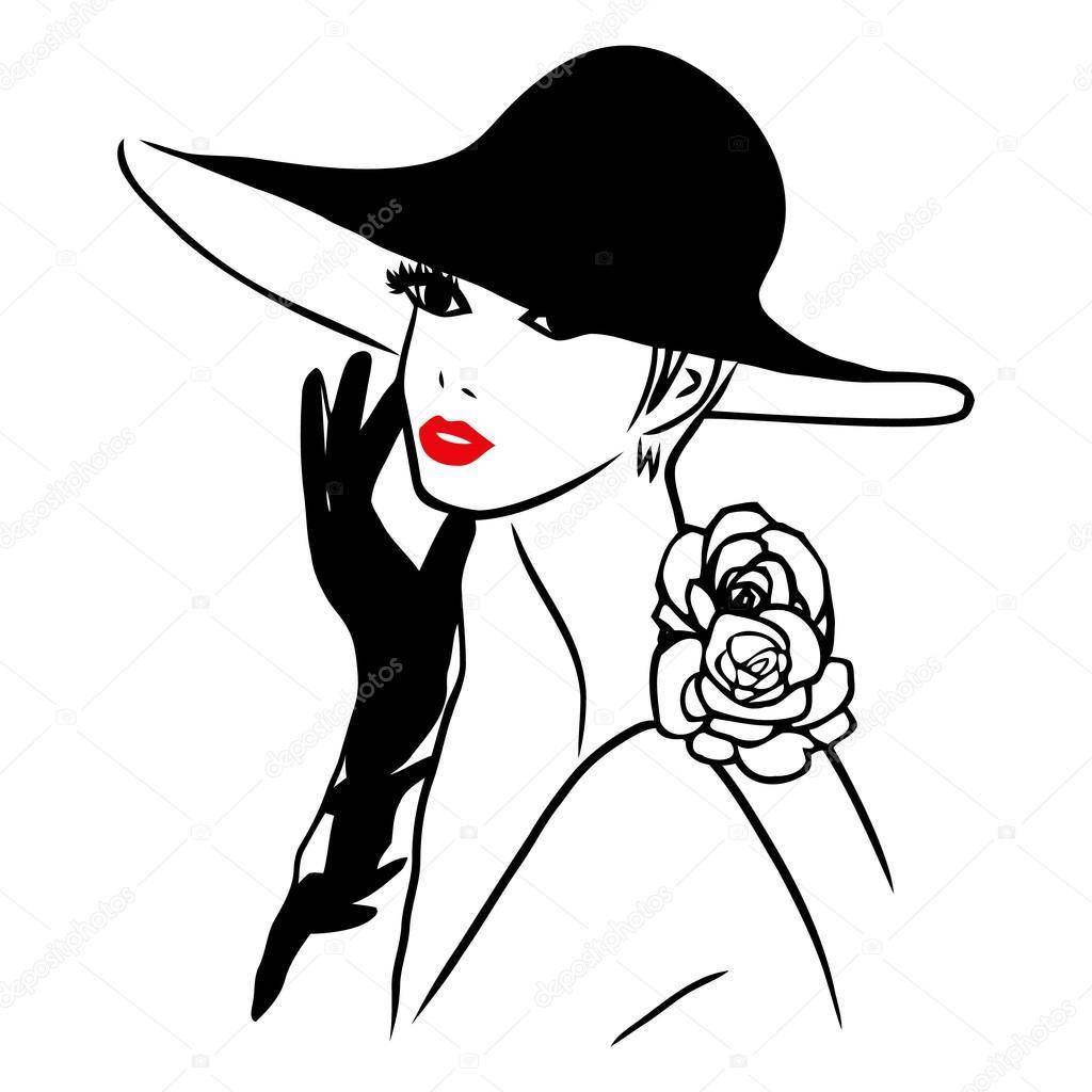 Vector Ink Line Art Lady Wearing Black Hat — Stock Vector