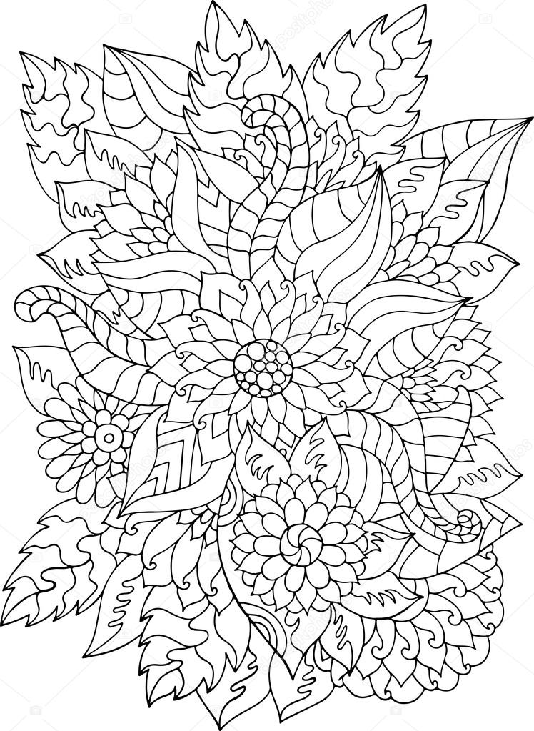 Hand drawn zentangle flowers and leaves — Stock Vector