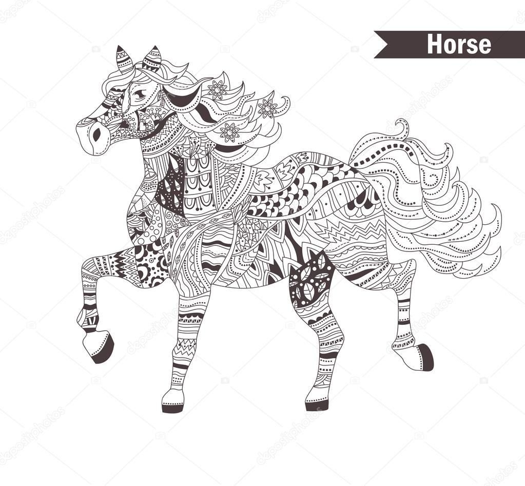 Koń. kolorowanka dla dorosłych — Grafika wektorowa
