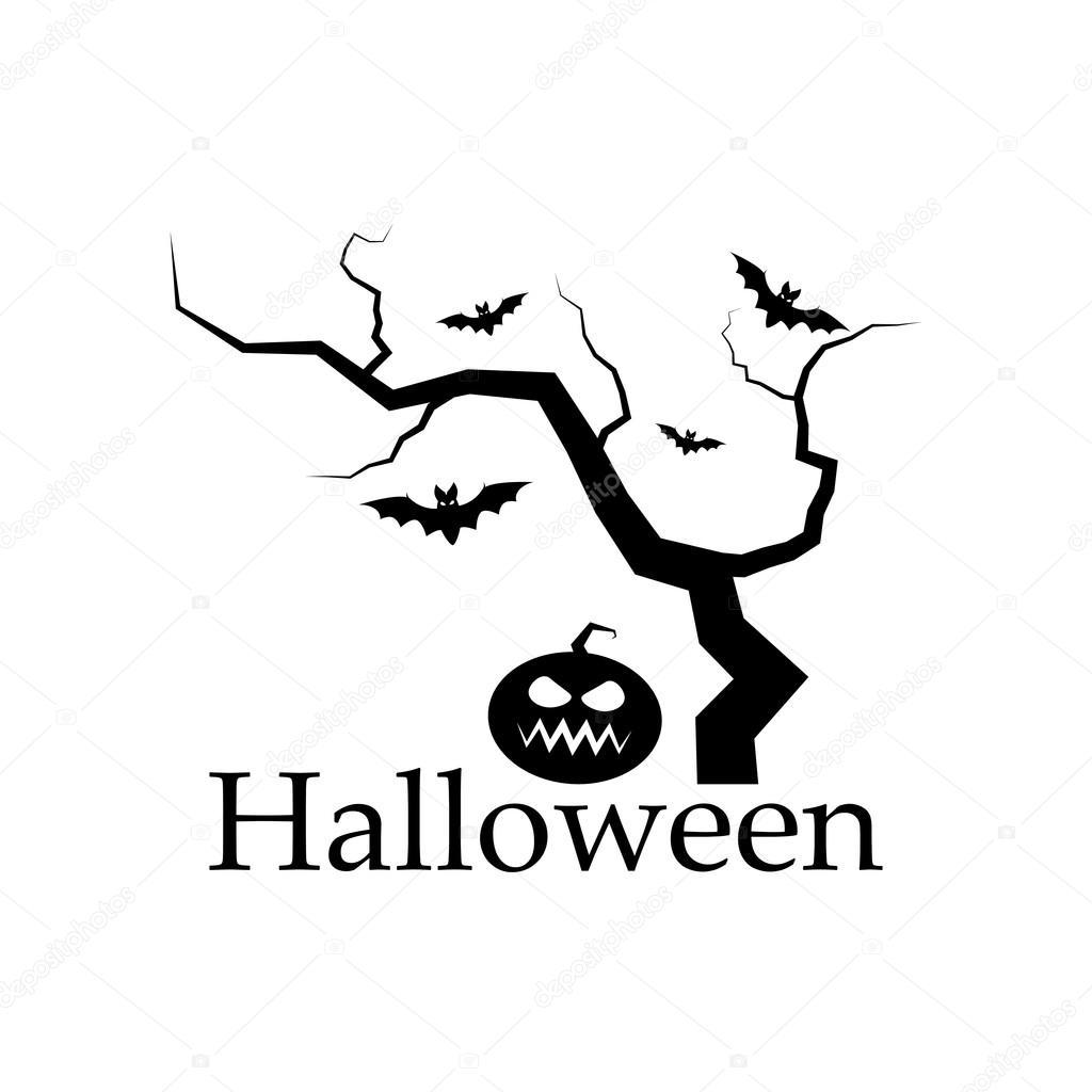 Silhueta Assustador De Arvore De Halloween Abobora E