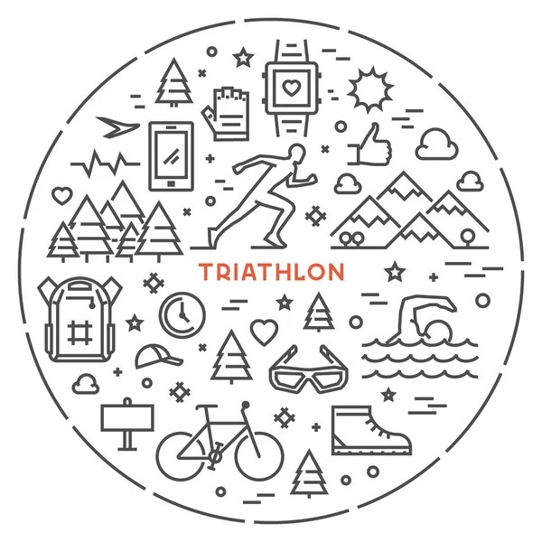 Modern vector symbol for triathlon — Stock Vector