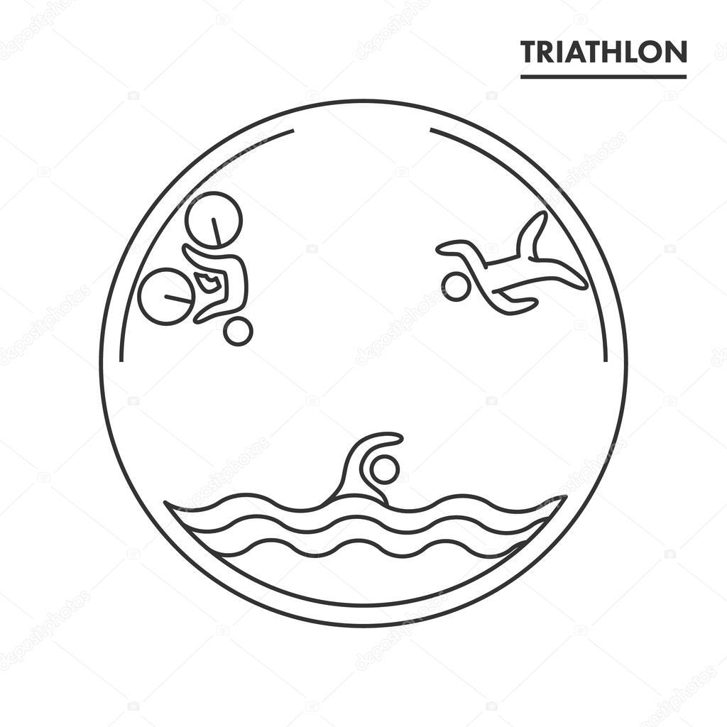 Triathlon logo and icon. Swimming, cycling, running