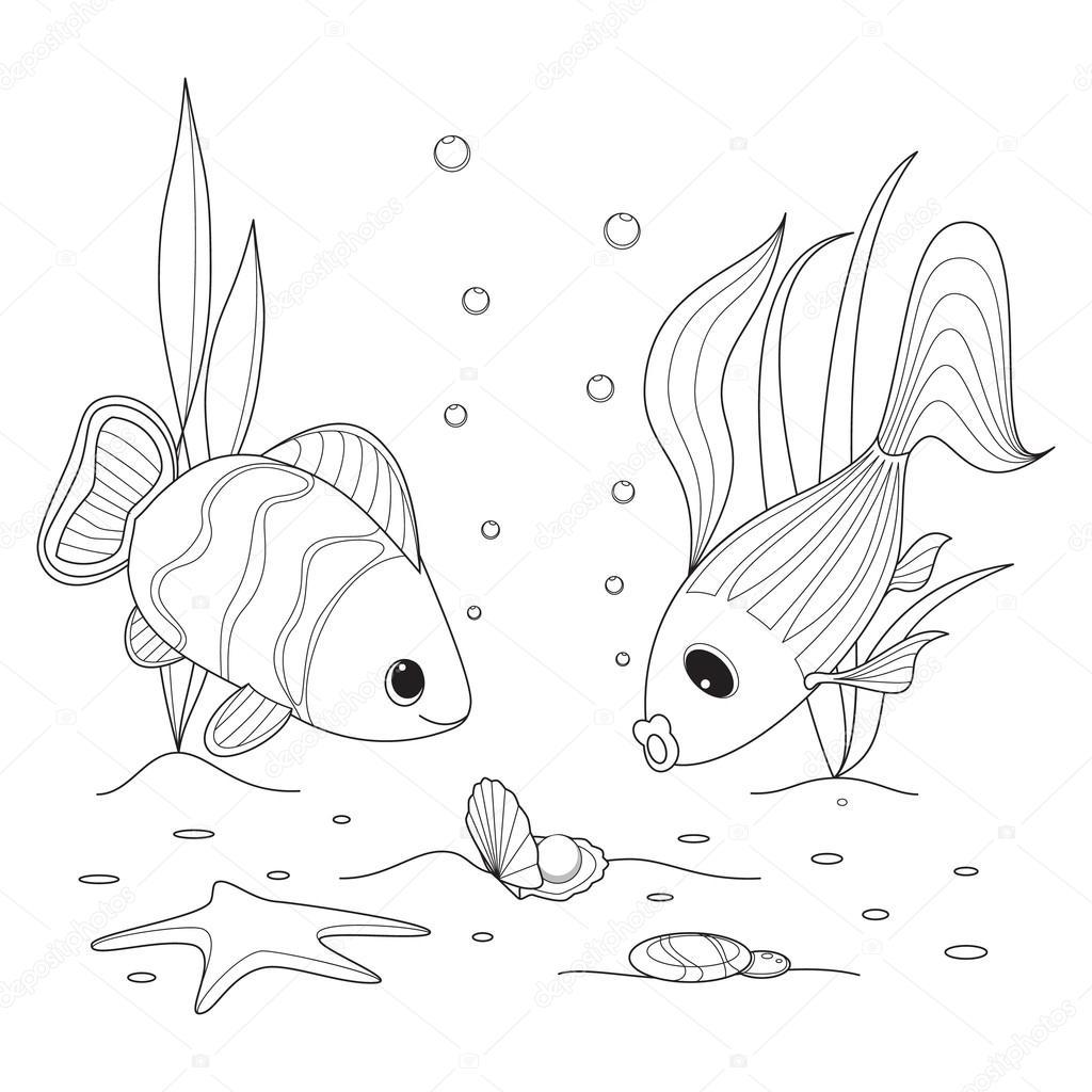 Coperture con una perla pesci che nuotano intorno stelle