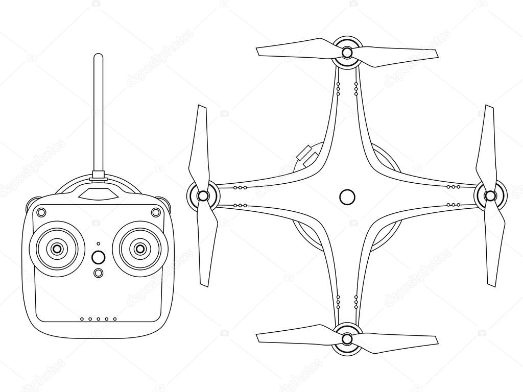 Drone With Radio Controller Outline Style Illustration