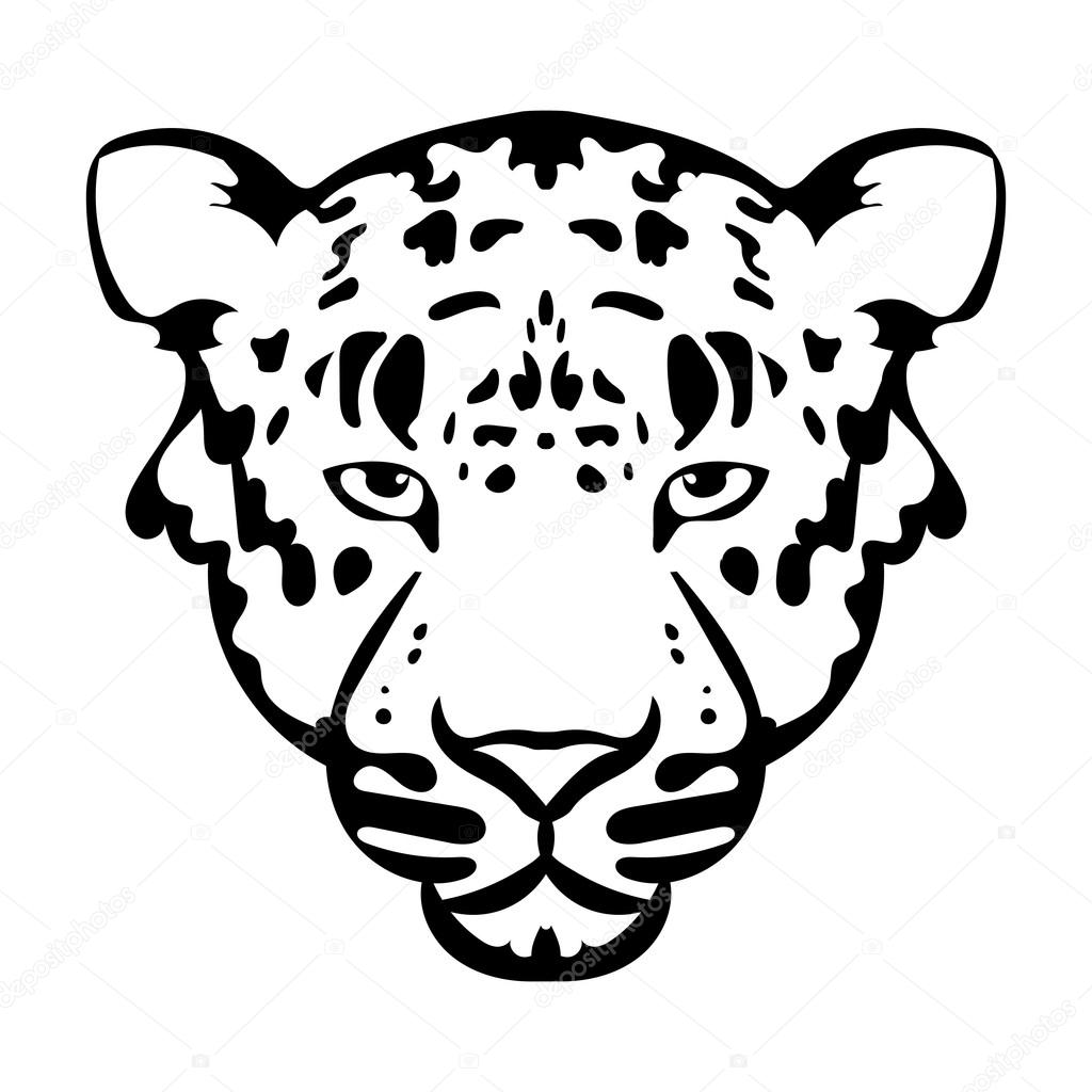 Vector Illustration Of Leopard Face Black And White Tattoo