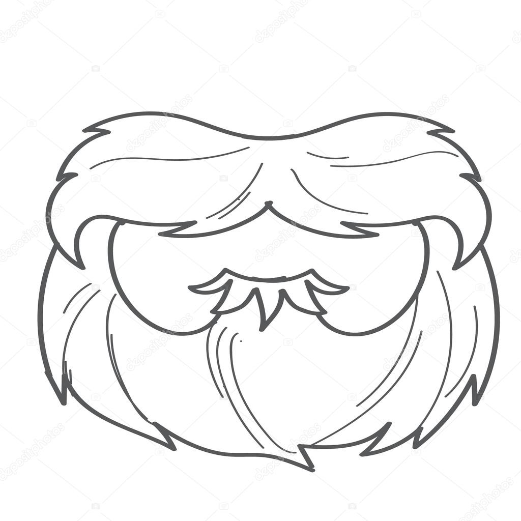 Beard And Mustache Mask In Cartoon Style Outline Drawing