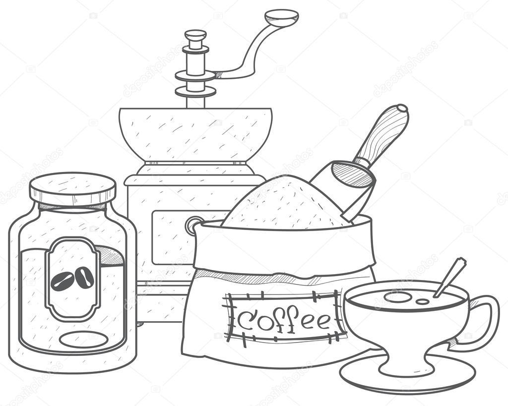 Vintage manual coffee grinder, glass jar for coffee