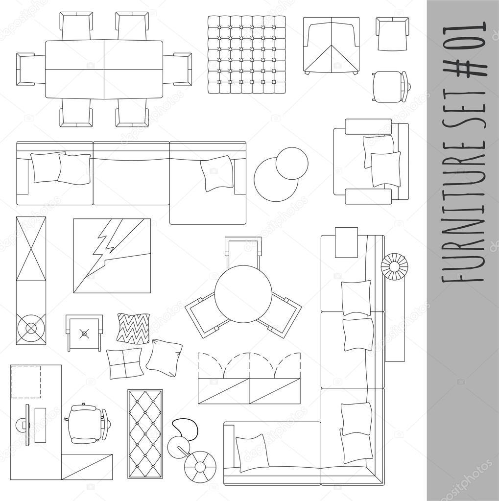 Standard furniture symbols used in architecture. — Stock