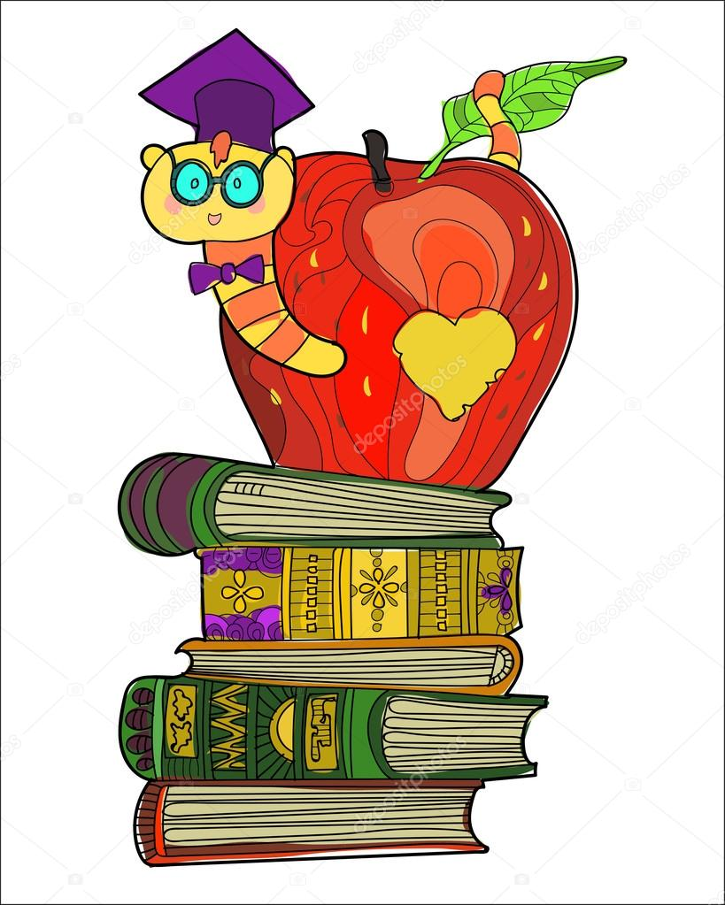 medium resolution of bookworm doodle in the graduates hat in apple on a pile of books vector by yazzik