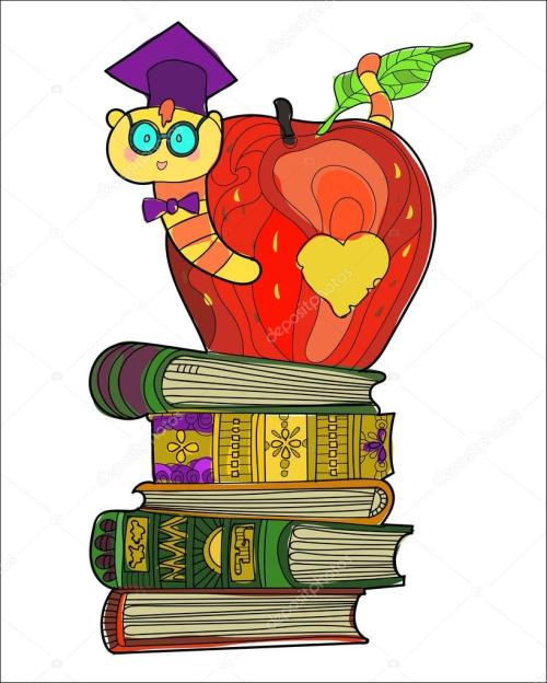 small resolution of bookworm doodle in the graduates hat in apple on a pile of books vector by yazzik