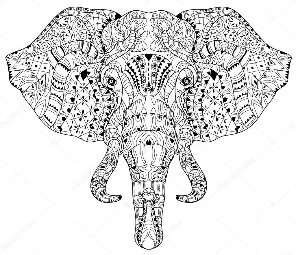 Elephant head doodle on white vector sketch. — Stock