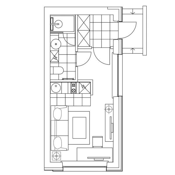 Ground floor blueprints sketch — Stock Vector