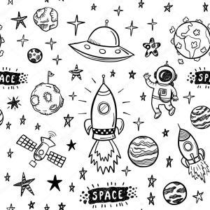 space doodle seamless pattern vector illustration depositphotos