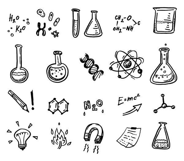 Hand drawn chemistry and science icons — Stock Vector