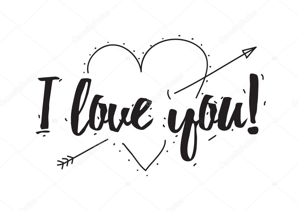 Download I love you. Greeting card with calligraphy. Valentines day ...