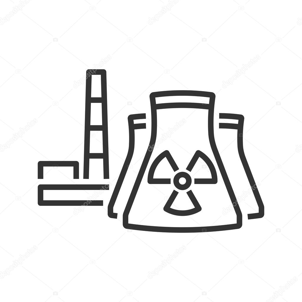 Nuclear power plant line icon — Stock Vector © vectol