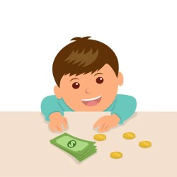 money boy table kid illustration put savings something cartoon counting counter clipart calculate boys playing dreamstime game illustrations depositphotos