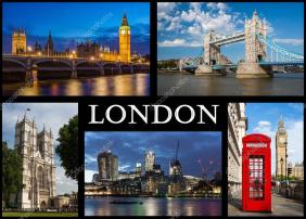 London Postcard: different immages of London — Stock Photo ...