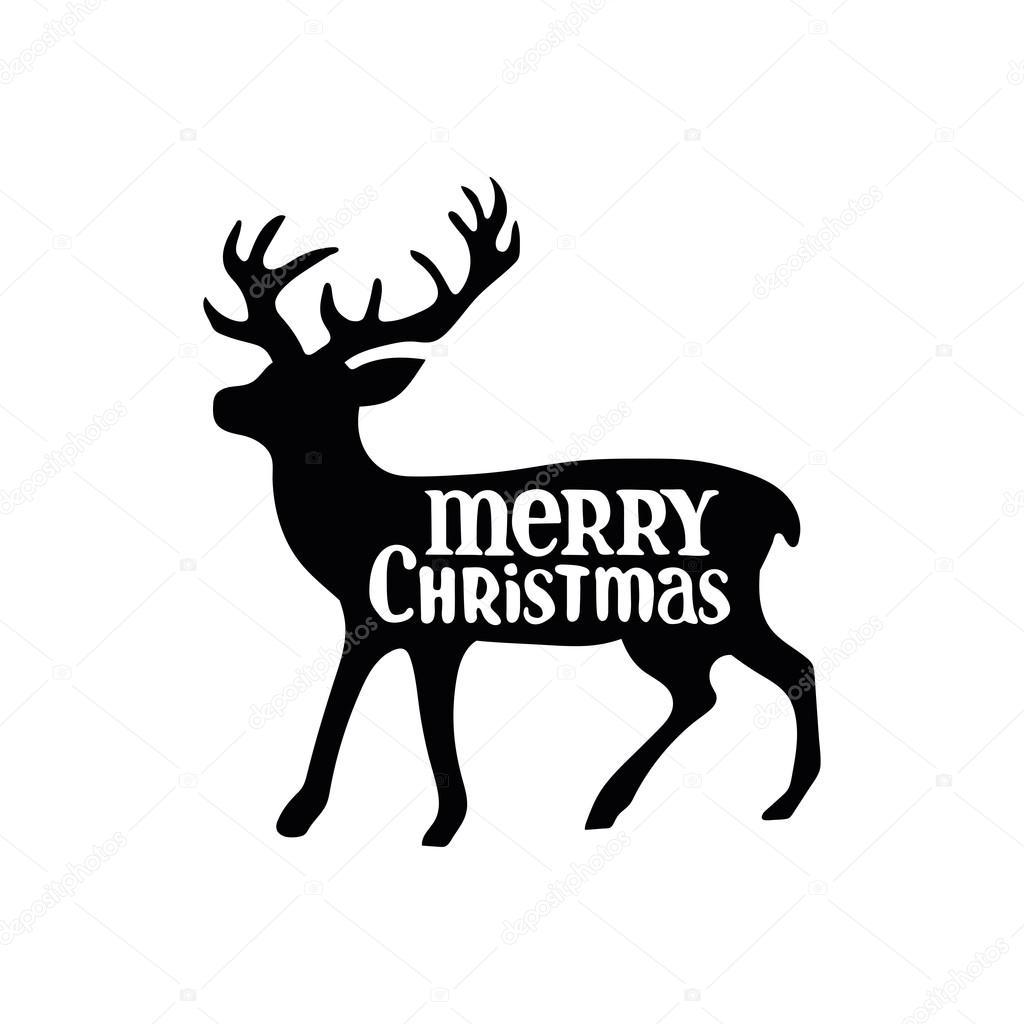 Merry Christmas Christmas Deer Black Pattern On White