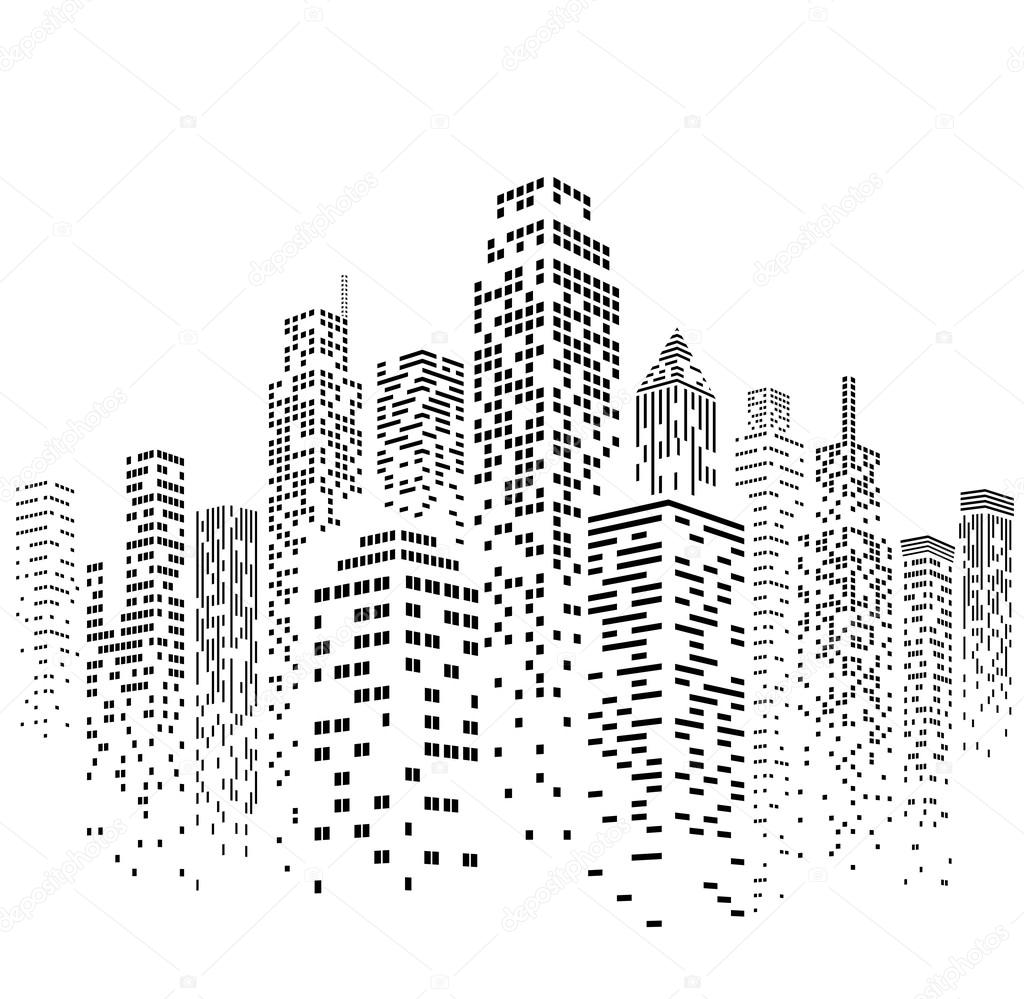 Vector Urban Cityscape Silhouette Illustration