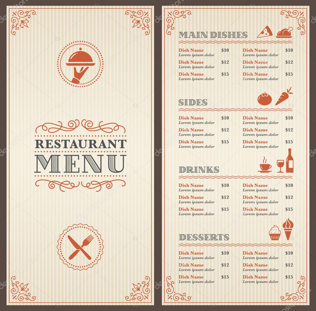 A Classic Restaurant Menu Template With Nice Icons In An Elegant Style —  Vector By Pingebat