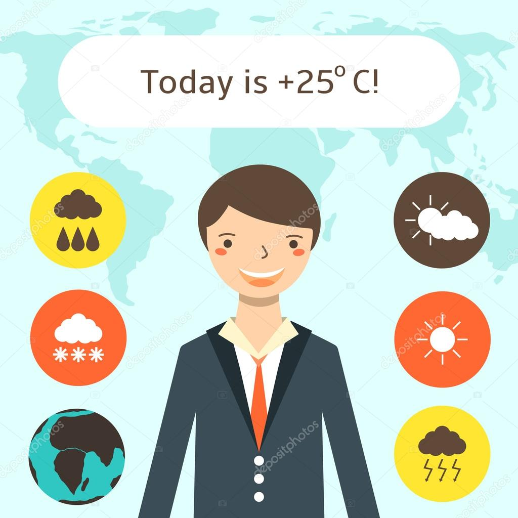 hight resolution of cute flat style weather forecast background with young man world map weather icons weather forecast card with text space vector by nadineveresk