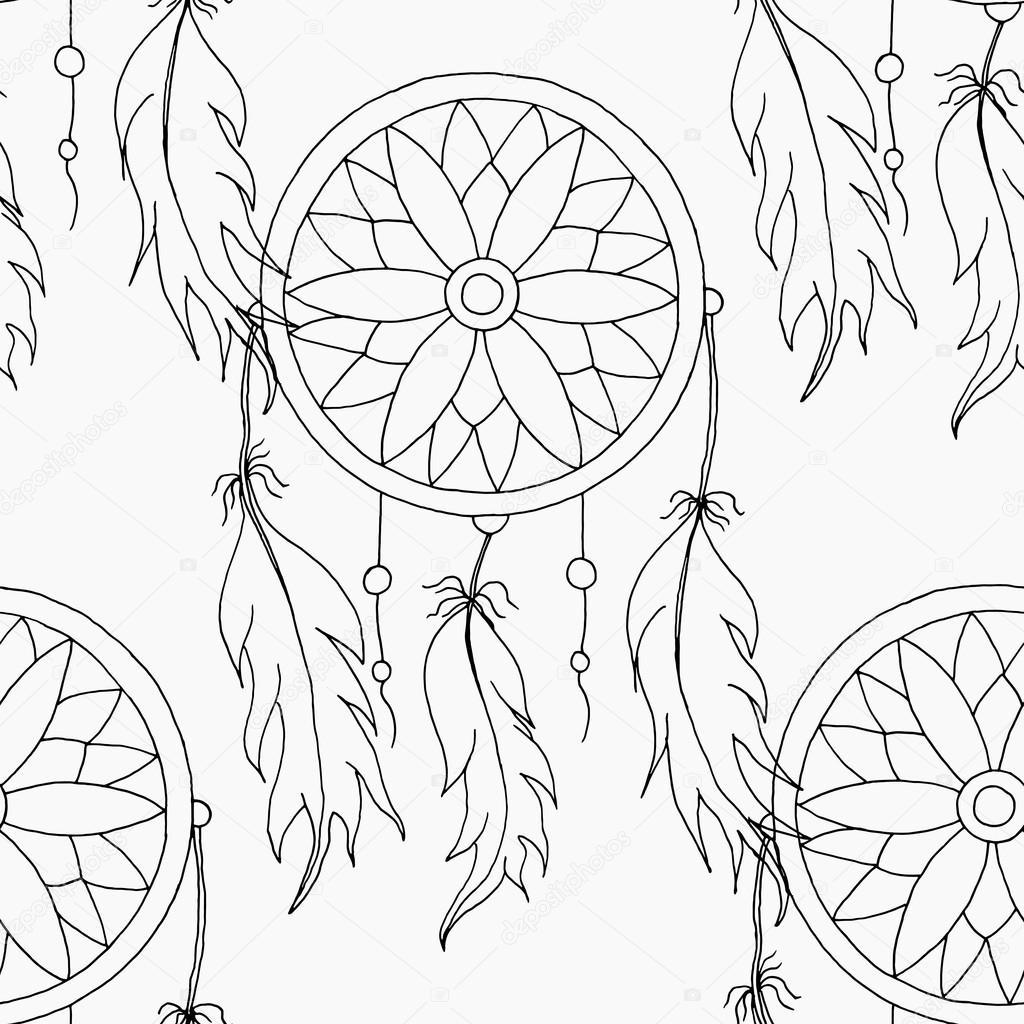 Hand zu zeichnen eine nahtlose Muster Traumfänger