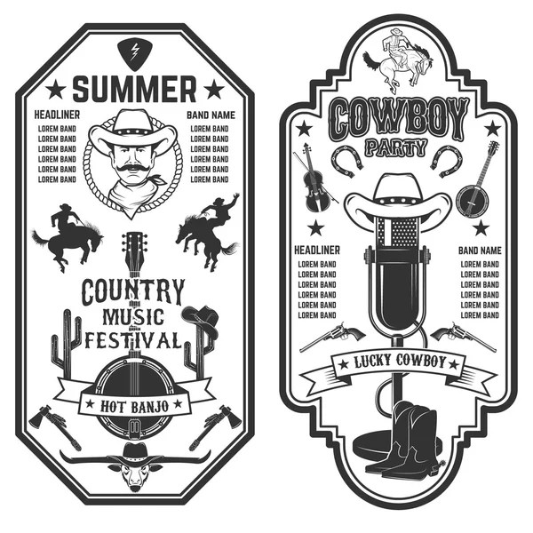 Amerikaanse country muziek poster Stockvectors