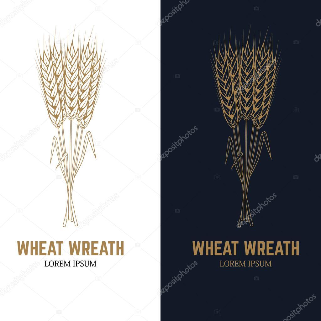 hight resolution of wheat wreath label template design element for logo beer label emblem sign badge vector illustration vector by art l i ua