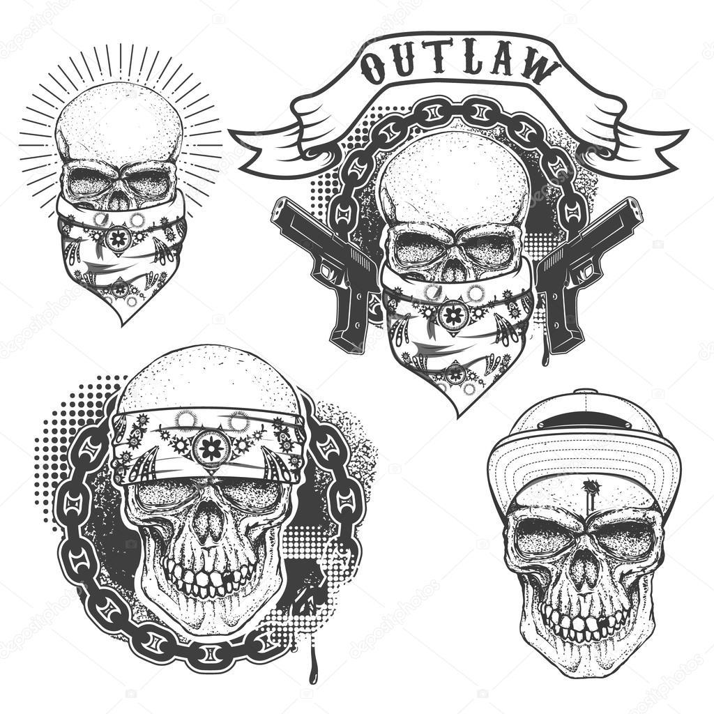 Vector Bandana Gángster Conjunto De Tatuaje De Gángster Calavera