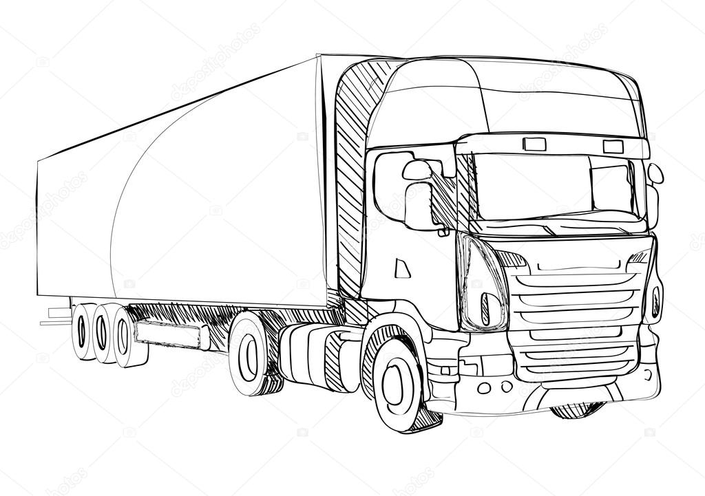 truck, outline, quick sketch — Stock Vector © kod_solnza