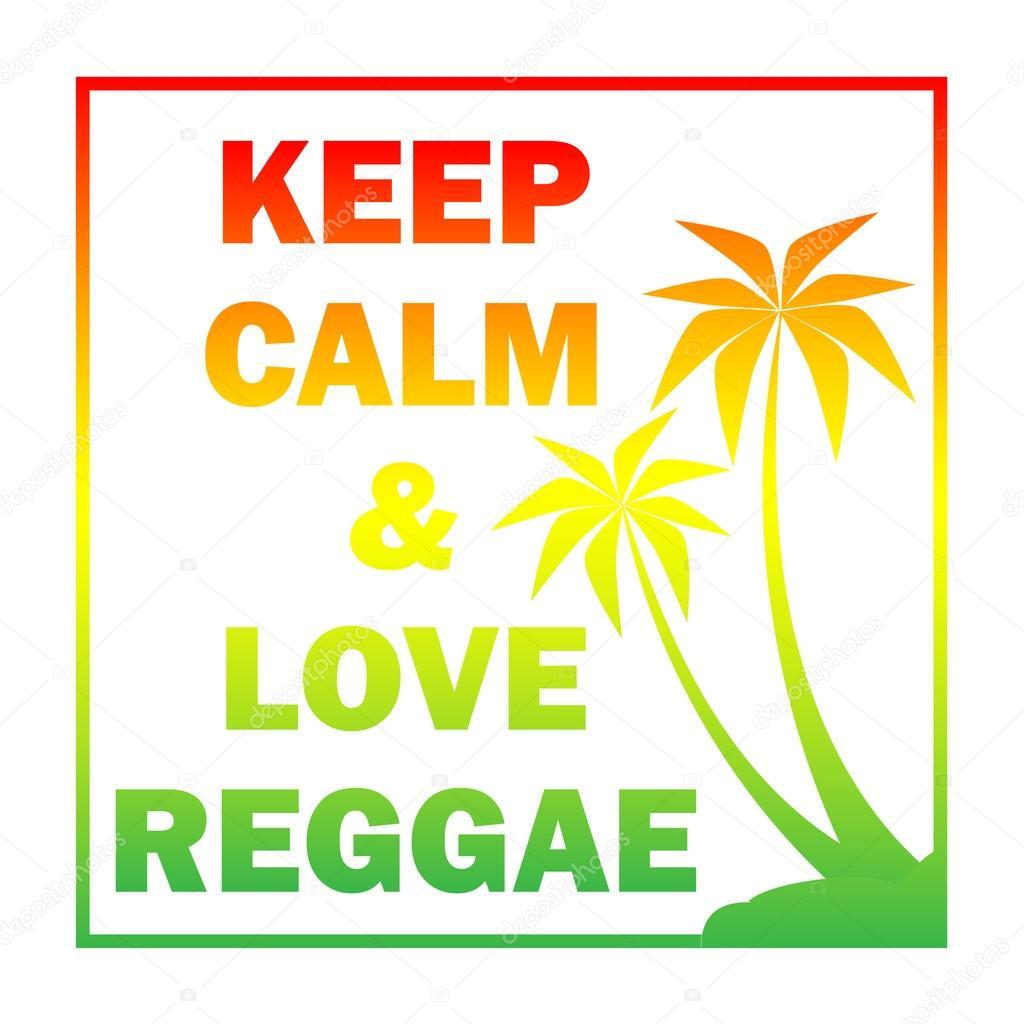 Reggae Hintergrund Mit Farbverlauf Pulms Silhouette Und Zitat Stockvektor