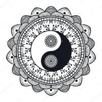Dell'annata Yin e Yang nel Mandala  Vettoriali Stock ...
