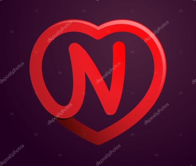 N Letter With Red Heart Stock Vector