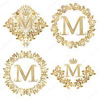 Conjunto de monogramas vintage de ouro letra M  Vetor de