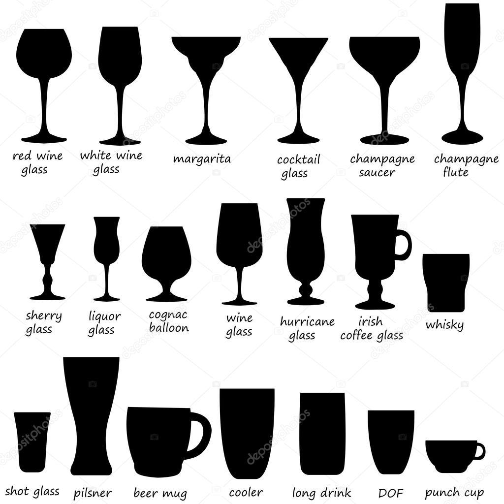 Glass Collectie Cocktailglas Silhouet Vector Set Zwart