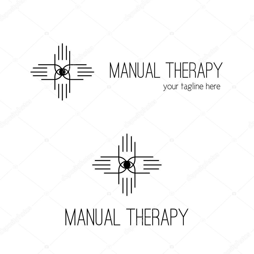 Manual therapy logo design. Chiropractic symbol. — Stock