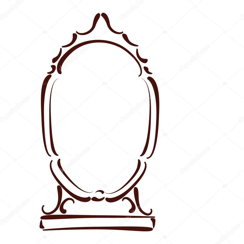 Getekende Spiegel Vectorillustratie