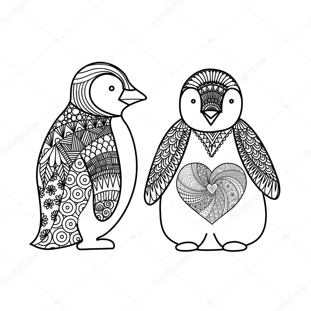 Two Penguins Line Art Design For Coloring Book For Adult