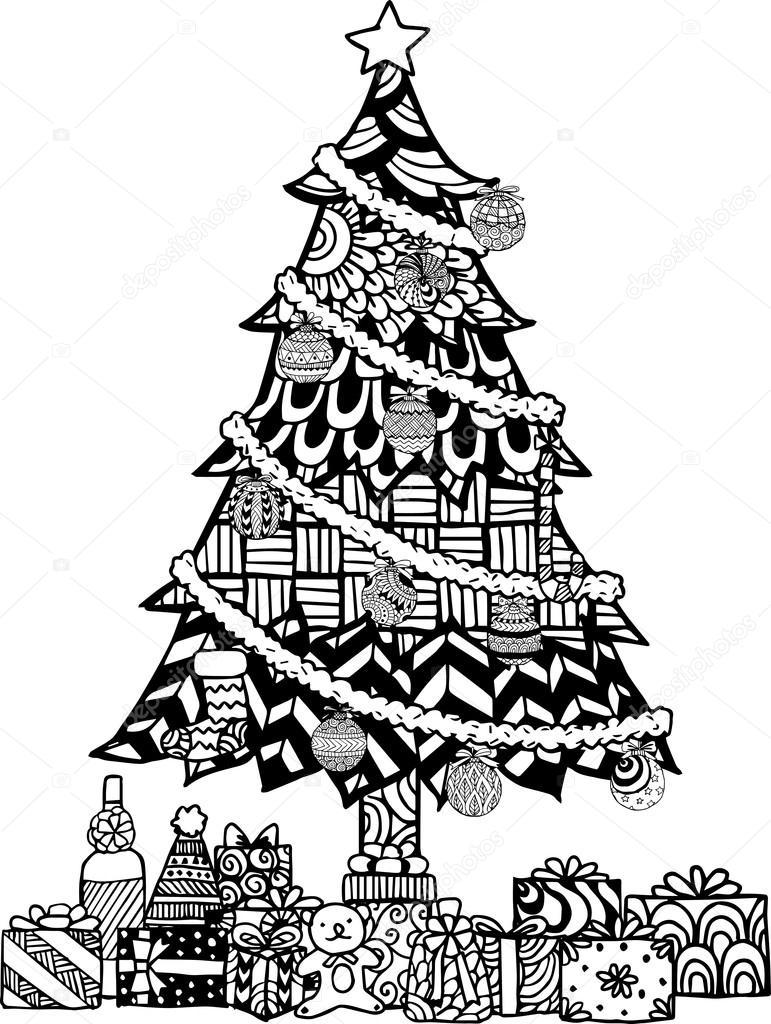 Hand getekend kerstboom zentangle stijl met kerstballen en