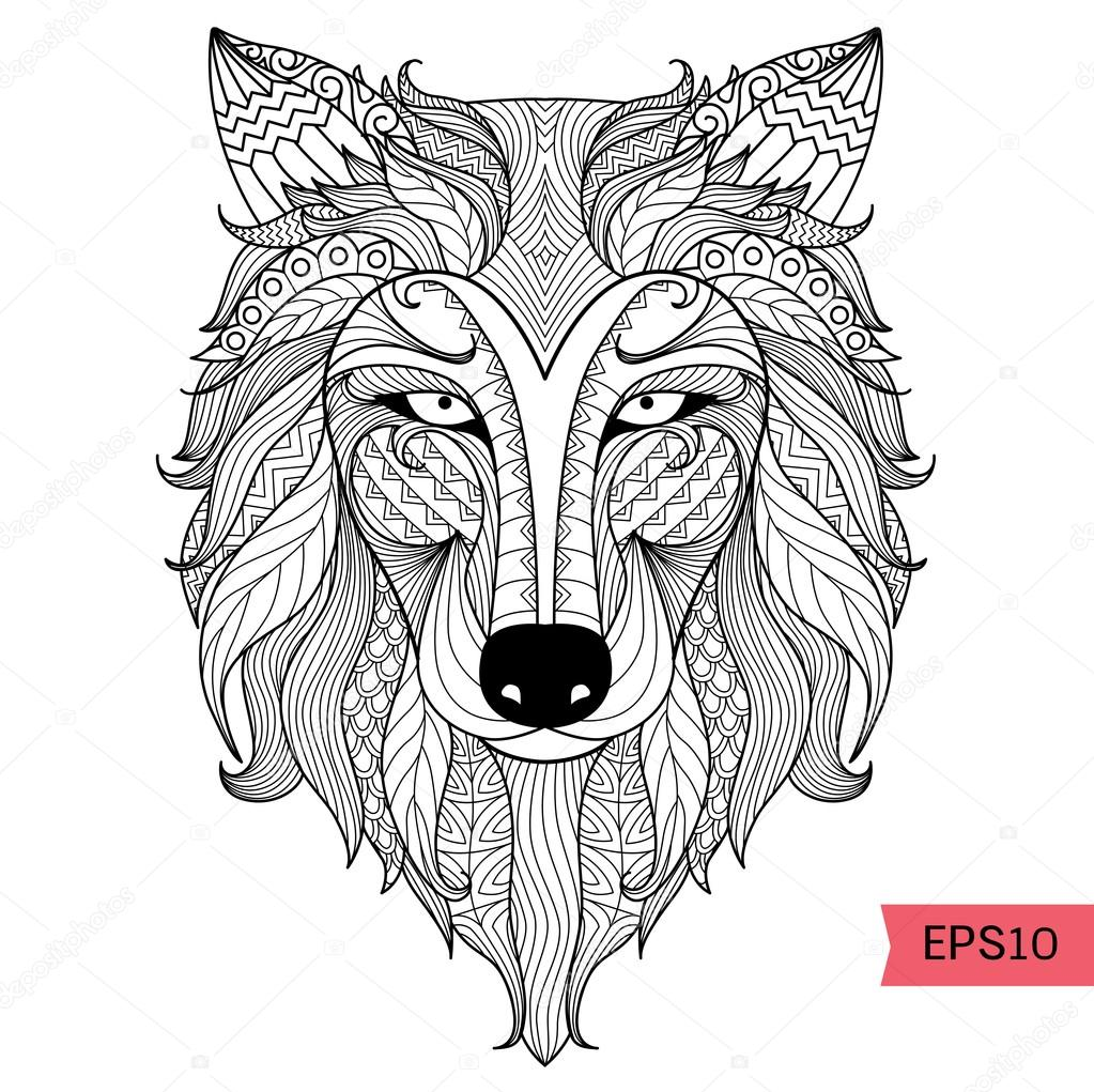 Detail zentangle wolf for coloring page,tattoo, t shirt