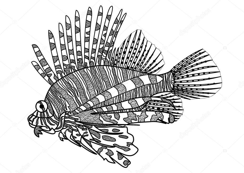 Digital drawing zentangle lion fish — Stock Vector