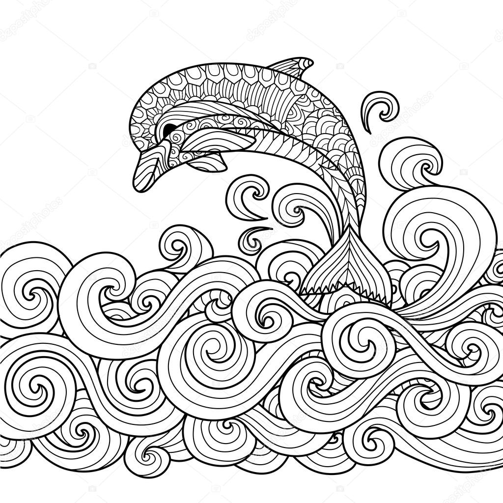 Hand drawn zentangle dolphin with scrolling sea wave for